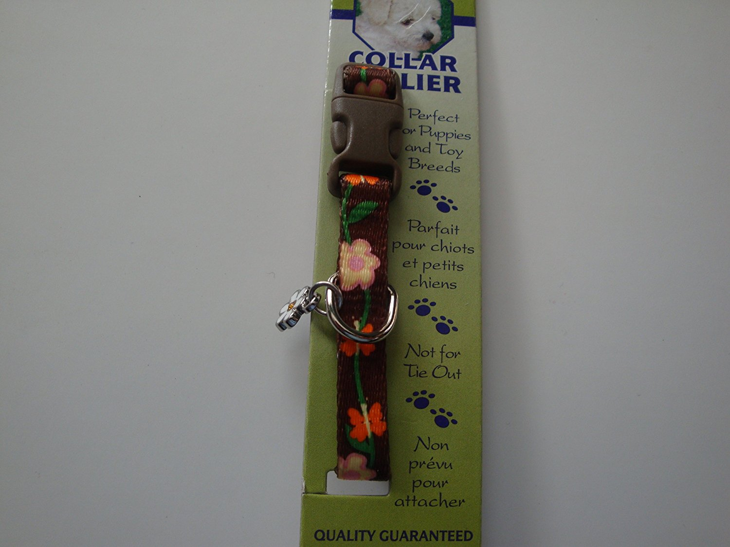 "Li'l Pals Dog Collar, Brown with Flowers 3/8"" W"