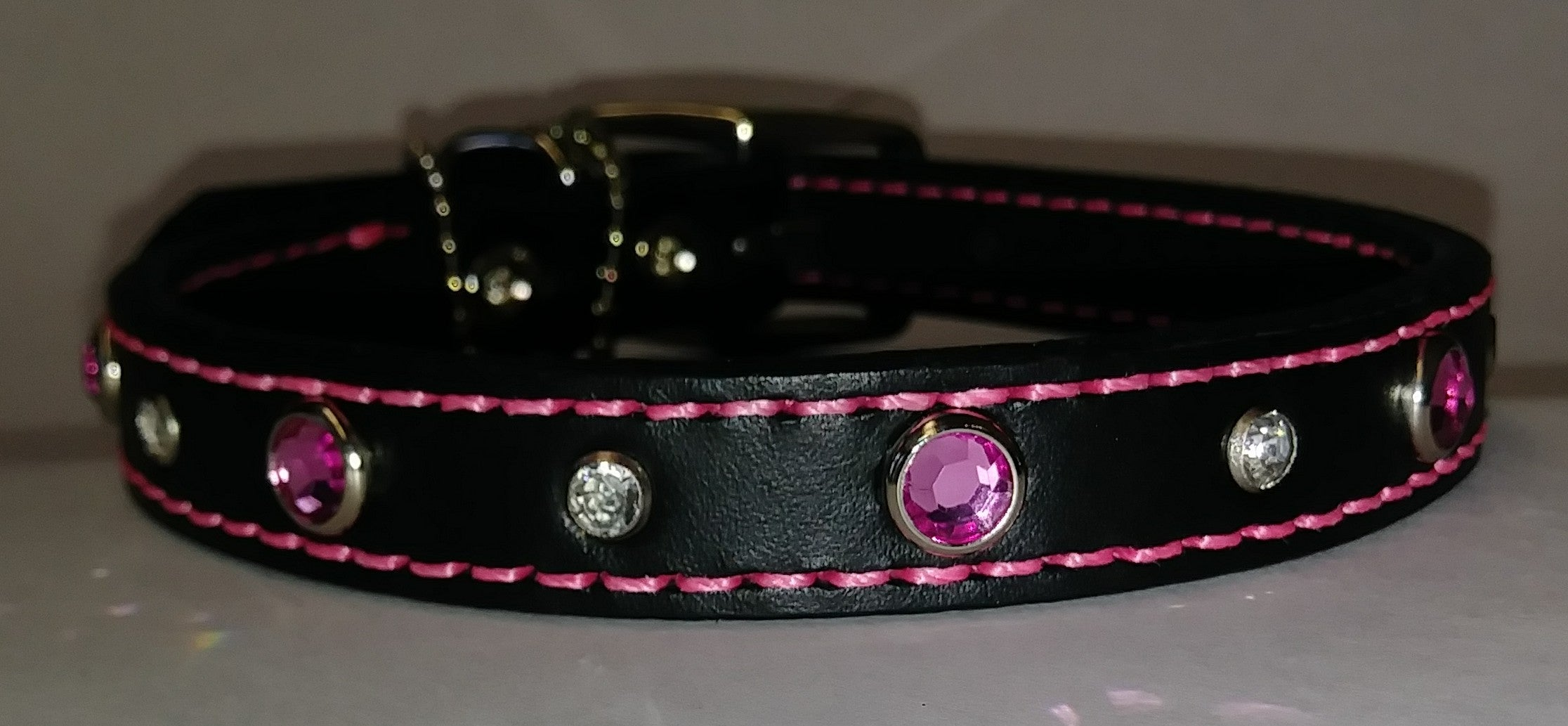 "14"" Black Leather Dog Collar with Pink and White Jewels"