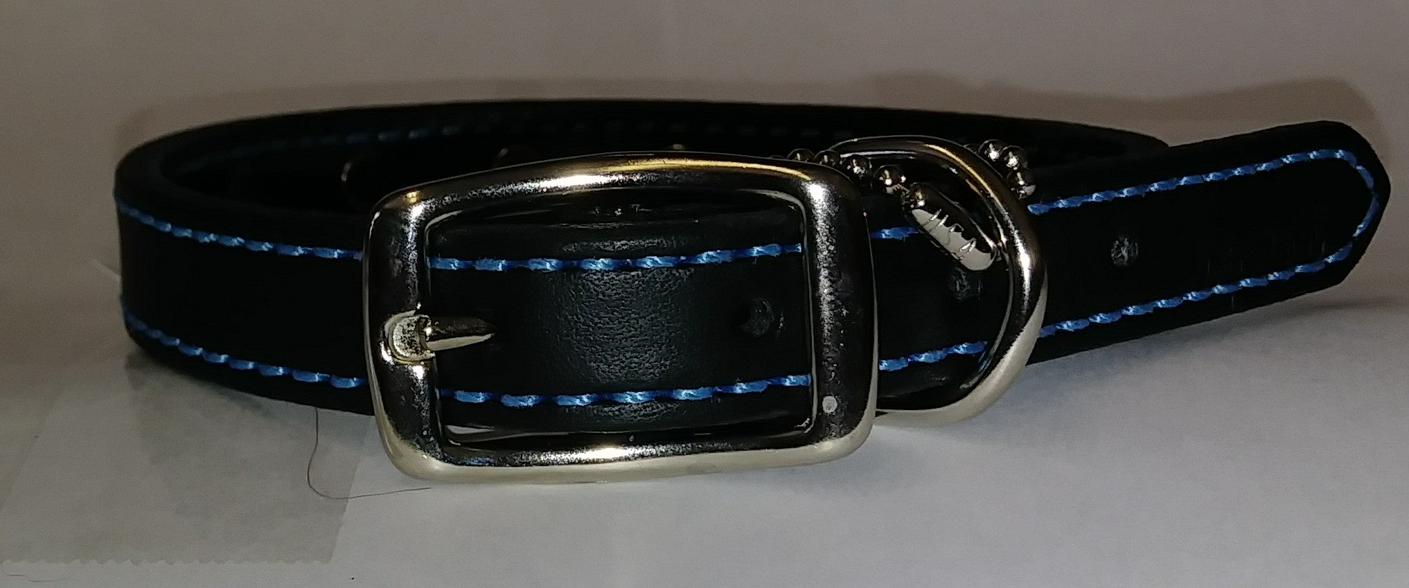 "14"" Black Leather Dog Collar with Turquoise Beads and Stitching"