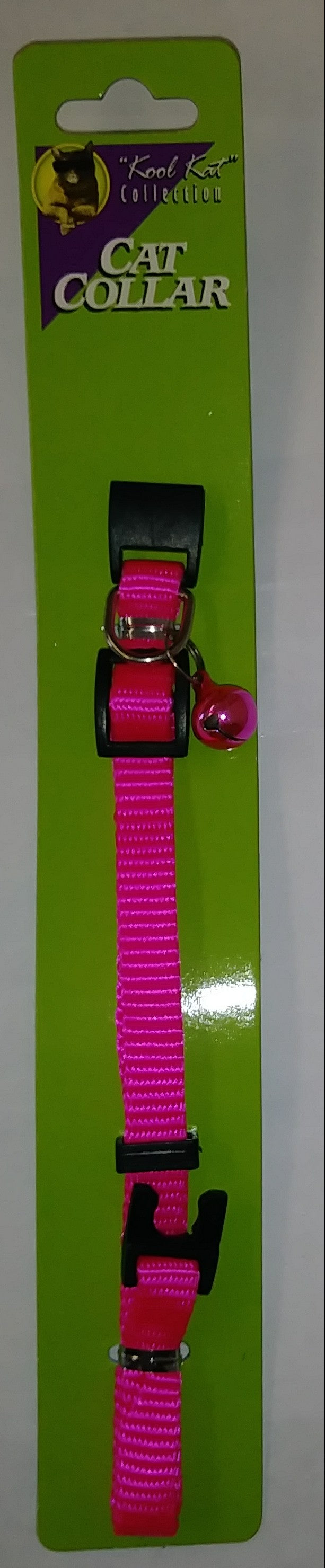 Pink Adjustable Nylon Cat Collar with Bell