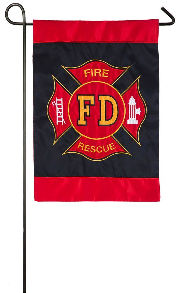 Fire Department Applique Garden Flag, #168608