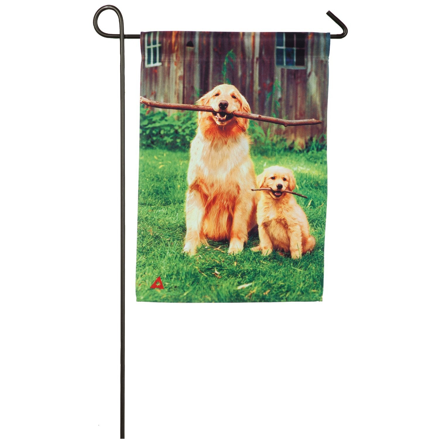 Big and Little Dog with Sticks Garden Flag, #14a4729