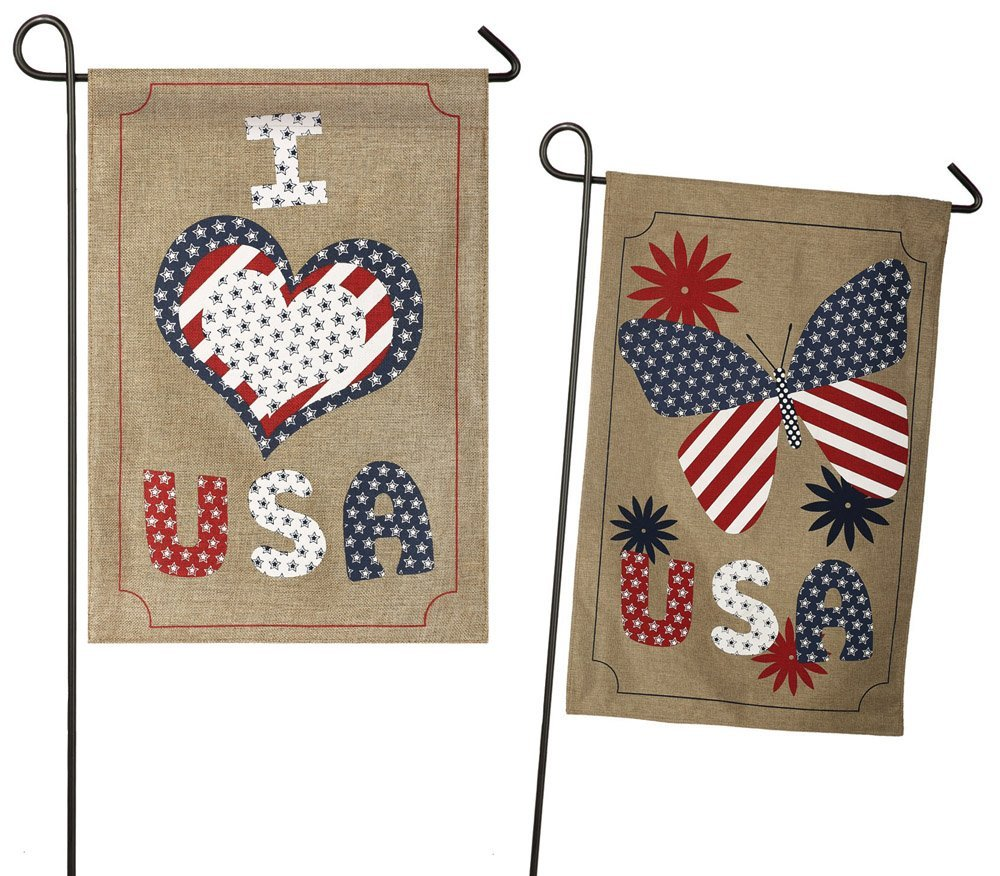 Love USA Burlap Garden Flag, #14b3749fb