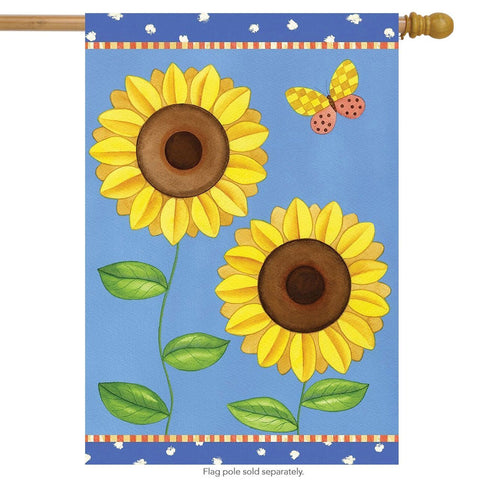 Summer Sunflowers Primitive House Flag, #H00329