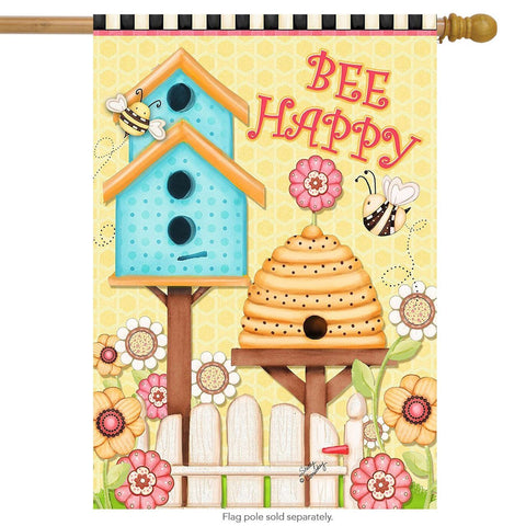 Bee Happy Primitive House Flag, #H00368