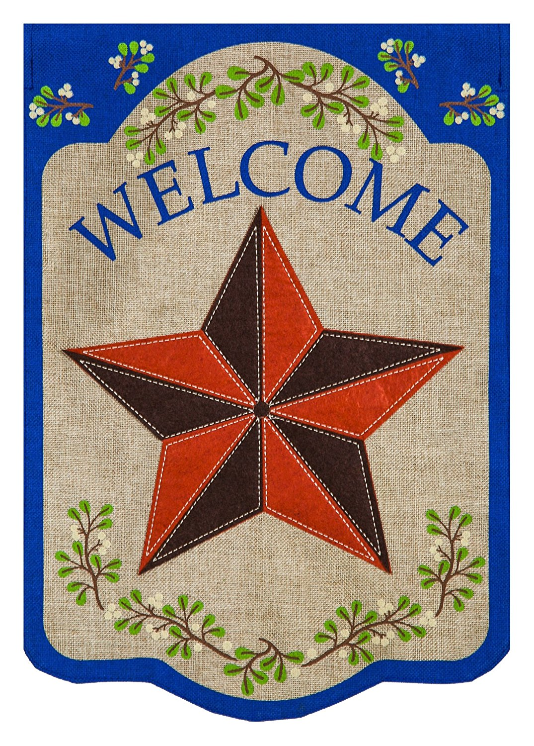 Country Star Burlap House Flag, #13B3759
