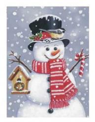 Snowman with Birdhouse Garden Flag, #FS95