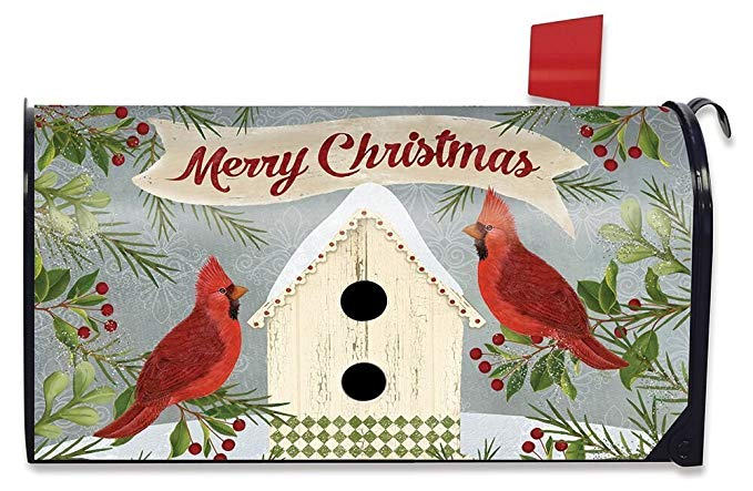 Christmas Cardinal Birdhouse Large Mailbox Cover, #L00702