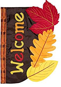 Fall Leaves Applique House Flag, # H00737