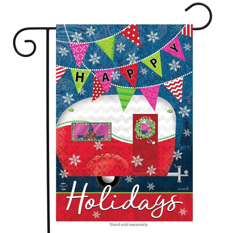 Happy Holidays Camper Primitive House Flag,#H00693
