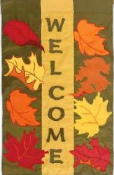 Welcome Fall Leaves Garden Flag,  #16698