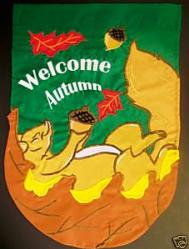 Welcome Autumn Squirrel House Flag, #151064