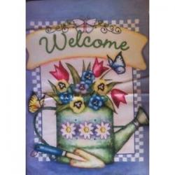 Welcome Flower Can Garden Flag,  #z26227