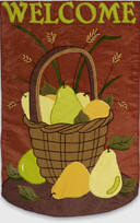 Welcome Pear Basket House Flag, #151028