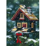 Winter Birdhouse Garden Flag, #9938FM