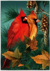 Autumn Splendor Cardinals House Flag, #131009
