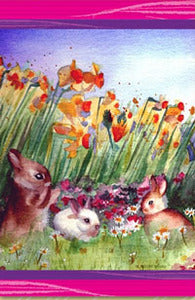Bunnies and Flowers Easter House Flag, #DDES0001L