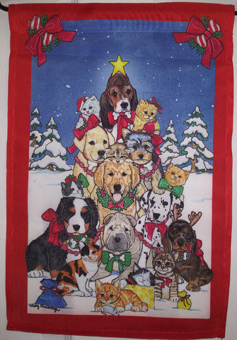 Dogs In Snow Garden Flag, #F3XB12003G