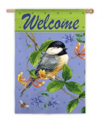 Bird and Bee Welcome House Flag, #131653