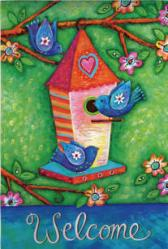 Birds and Birdhouse House Flag, #131434