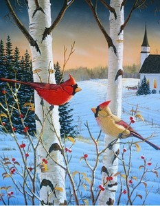 Winter Cardinals Church Garden Flag, FS65