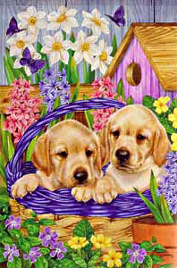 Puppies in a Basket Garden Flag,  #z141307