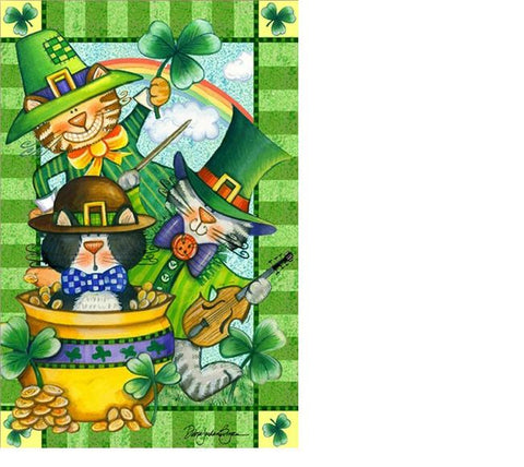 Cat Leprechauns House Flag, #DDSP0003L