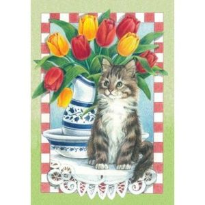 Tulips with Cat Garden Flag,  #110006