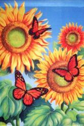 Butterflies & Sunflower House Flag, #0013FL