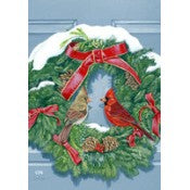 Cardinal's Wreath Garden Flag, #0495fm