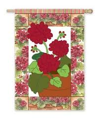 Potted Geraniums Applique Garden Flag,  #16629