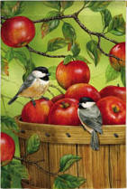 Chickadee Apple Basket House Flag, #131248
