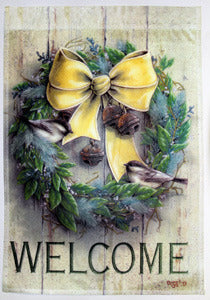 Welcome Wreath Garden Flag,  #z71803
