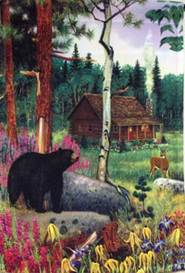 Black Bear and Cabin Camping House Flag, #FL8101
