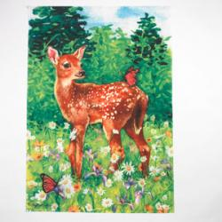 Fawn In Meadow House Flag, #Z25391