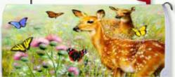Fawns and Butterflies Standard Size Mailbox Cover, #0563
