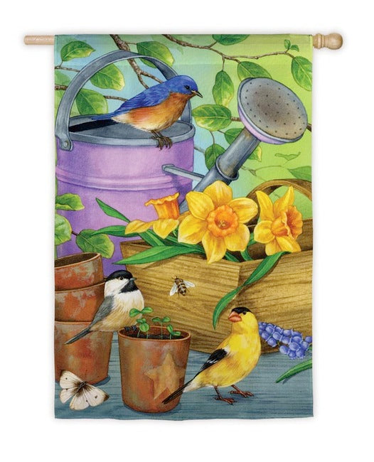 Birds By The Watering Can Garden Flag,  #141645