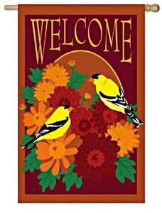 Floral Welcome House Flag, #12116