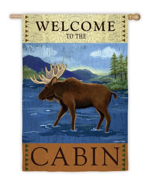 Welcome to the Cabin House Flag, #131s923