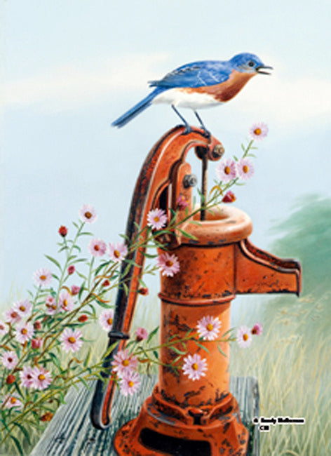 Bluebird Waterpump Garden Flag,  #9831fm