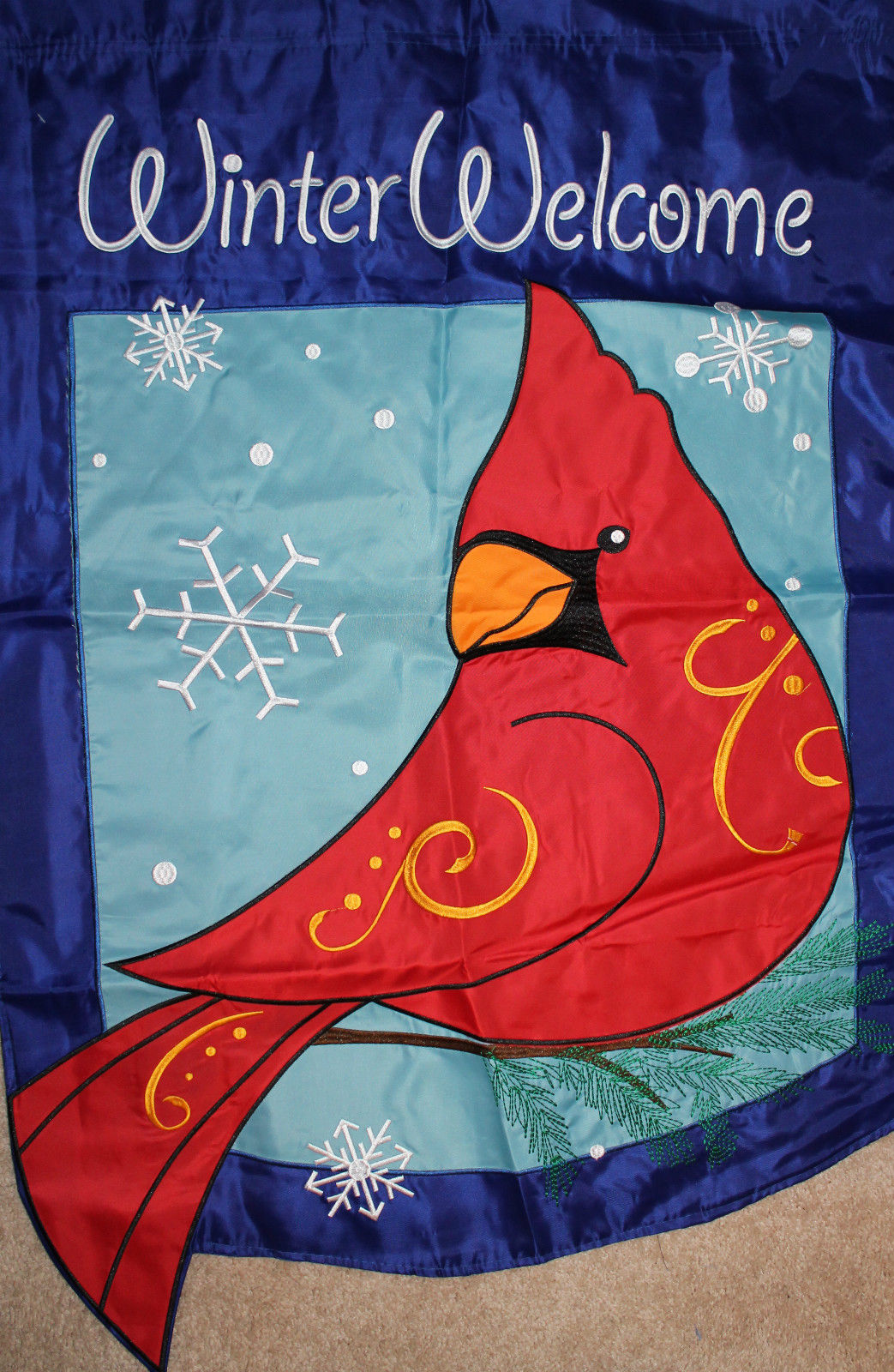 Winter Cardinal Applique Garden Flag, #55062