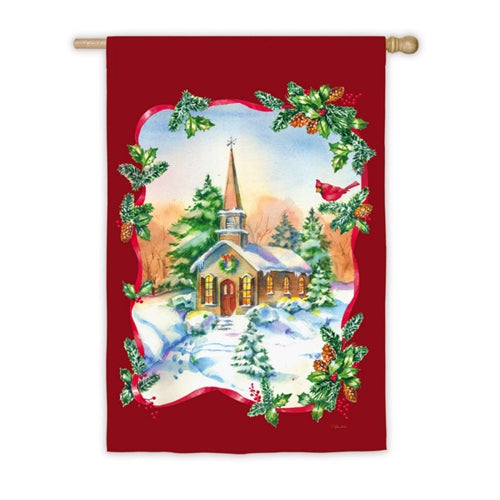 Joyful Winter Church House Flag,  #132664