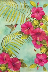 Hibiscus and Hummingbird House Flag, #131313