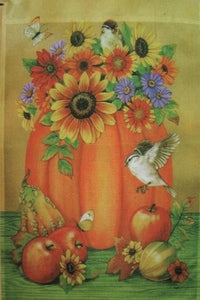 Fall Flowers and Pumpkin House Flag, #Z70825