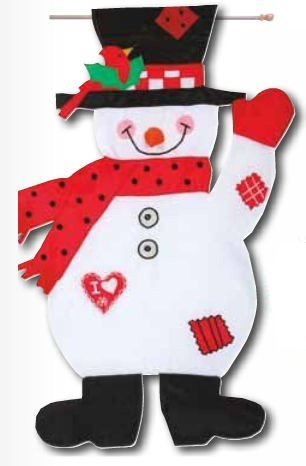 I Love Snow Snowman Sculpted Applique House Flag, #T5042