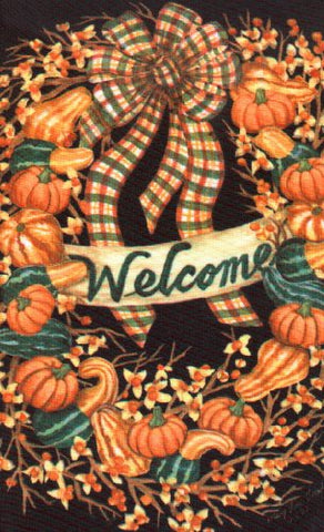 Fall Wreath/Gourds House Flag, #9276FL
