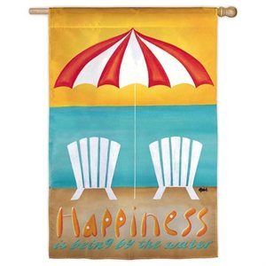 Happiness is Being by the Sea House Flag, #131726