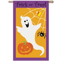 Trick or Treat Ghost House Applique Flag, #158092