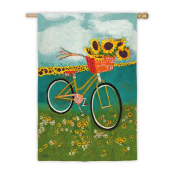 Bicycle with Sunflowers House Flag, #13s2521