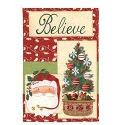Wood Believe Garden Flag,  #c70142